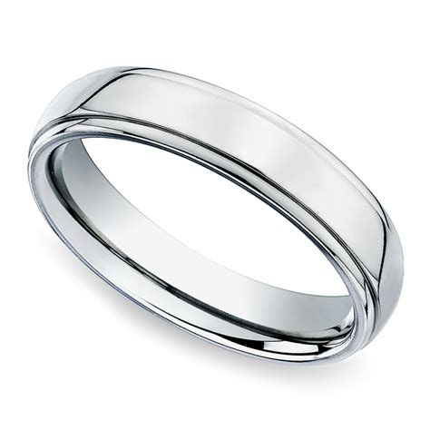 beveled mens wedding ring  platinum mm