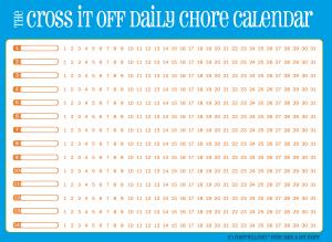 Cross-it-off daily chore calendar, blue with orange | Free ...
