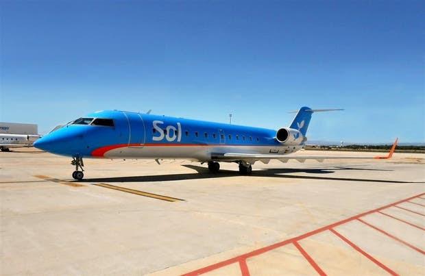 El primer avión que recbió Sol de su socia española Air Nostrum con la imagen corporativa de Austral