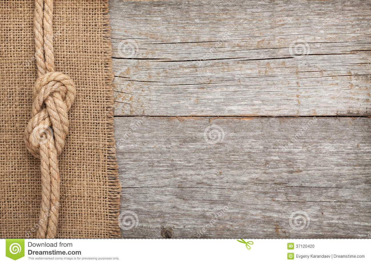 Ship Rope On Wood And Burlap Texture Background Stock Photo - Image