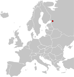 Location of St. Petersburg on the map of Europe