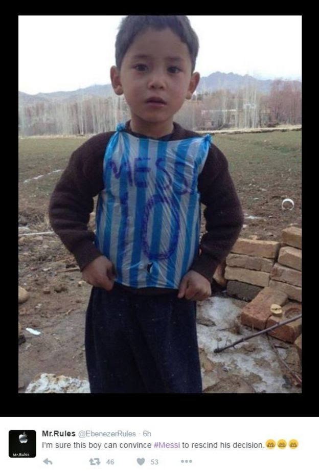 Boy in Messi shirt made from plastic bag