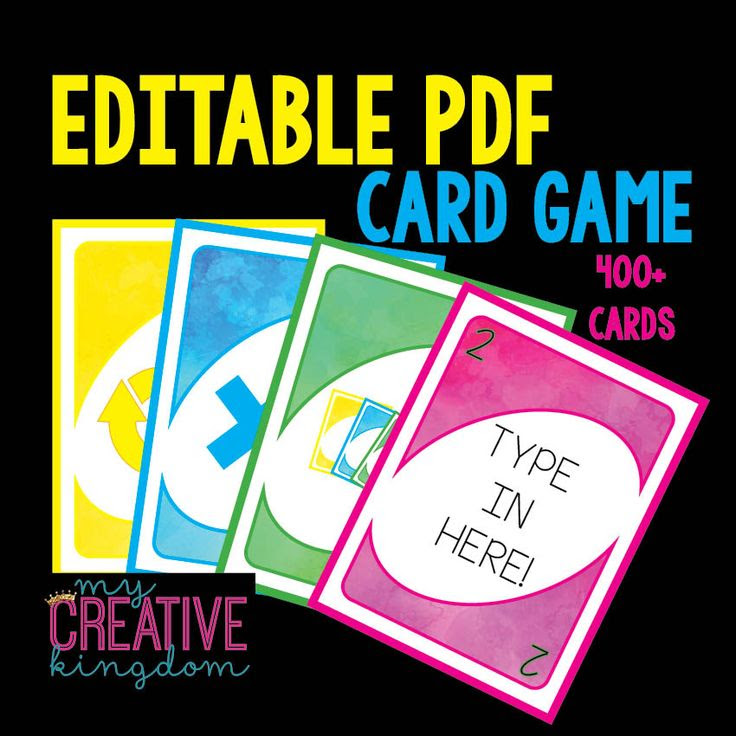 Uno Card Game - Editable PDF | Everything Kindergarten ...