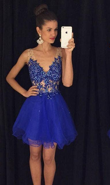 Royal Blue Cheap Short Party Dresses Lace Appliques