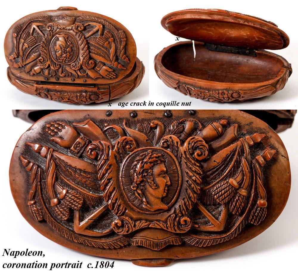 Antique Napoleon Era French Carved Coquilla Nut Snuff Box ...