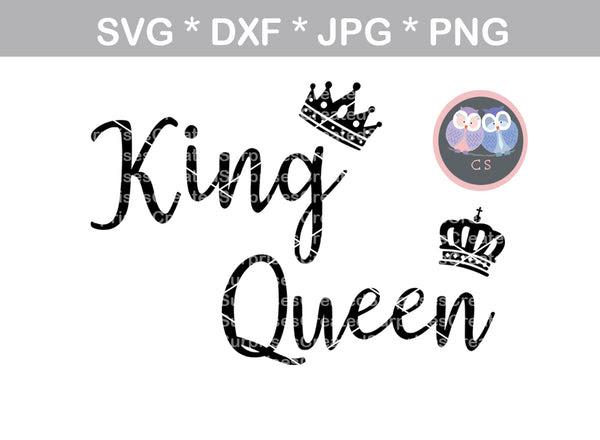 King Queen Crowns Crown Digital Download Svg Dxf Cut File