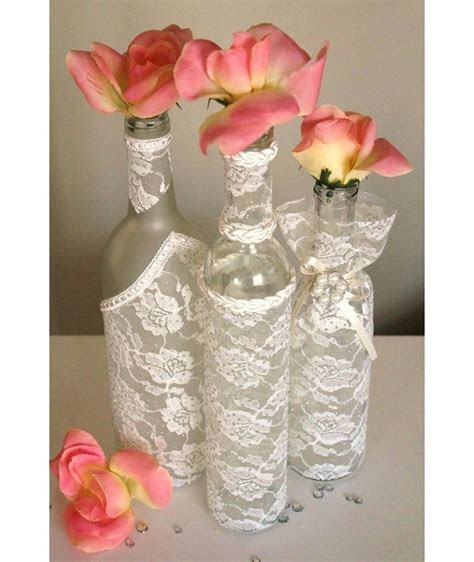 SET(3)  Decorated Wine Bottle Centerpiece Ivory Lace. Wine