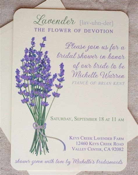 Lavender Wedding Invitations, with Envelopes, Purple