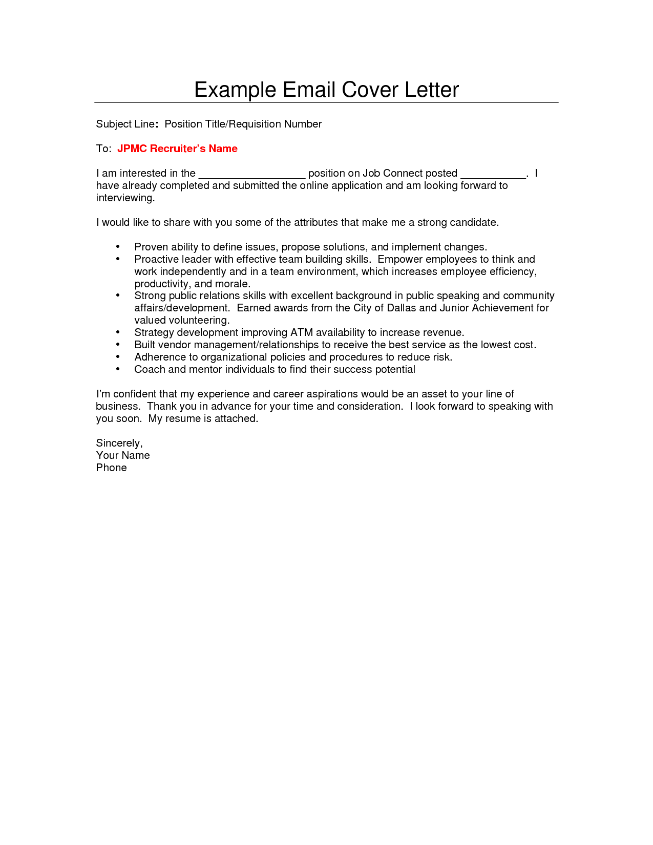 How To Write Resume Email Cover Letter Sample Cover Letter