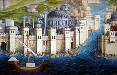 Recreación de Constantinopla en el momento de la conquista latina