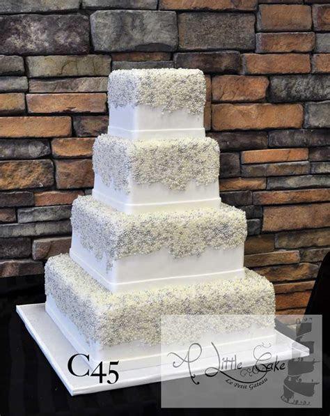 C45   Rectangular Fondant Wedding Cake With White And