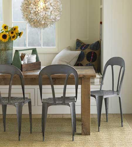 dining rooms - Eco Bistro Chair Lotus Flower Chandelier lotus pendant rustic dining table eco bistro dining chairs built-in bench  Love this