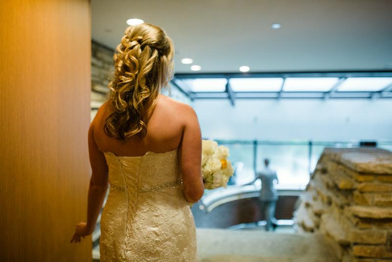 Bride and groom's First Look/ Reveal Hyatt Lodge at McDonald's Campus, Oak Brook Illinois, Grand Oaks Pavillion Wedding. By Mindy Joy Photography