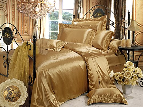 Taihu Snow 100% 19 Momme Mulberry Silk Luxury Collections Solid Pure Seamless 3-Piece Bedding Sheet Set (King, Metallic Gold)