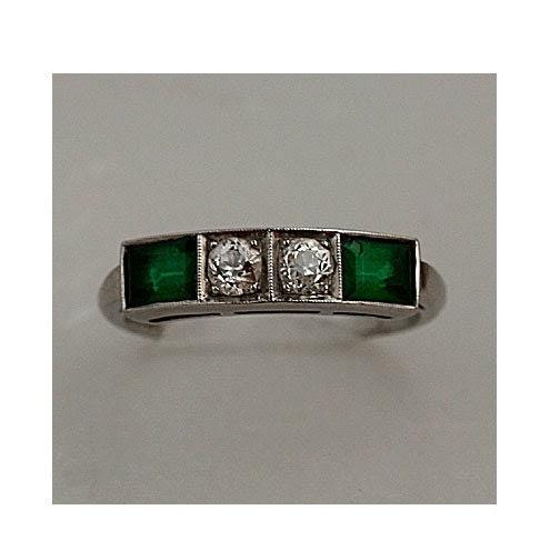 1920s Platinum Diamond and Emerald Ring