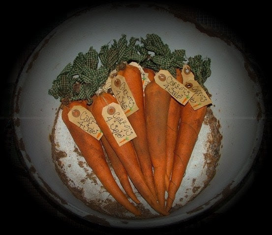 Primitive Carrot Bowl Fillers Ornies Tucks Set Of 6 WOW OFG Team