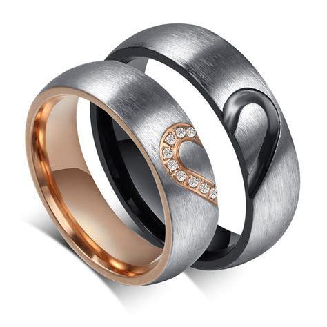 2016 Handmade Couple Rings Heart Shape Matching Stainless