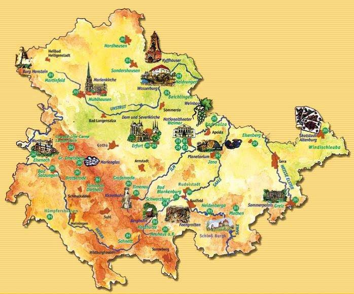 Karte Thüringen.Karte Thüringen Sehenswürdigkeiten Karte
