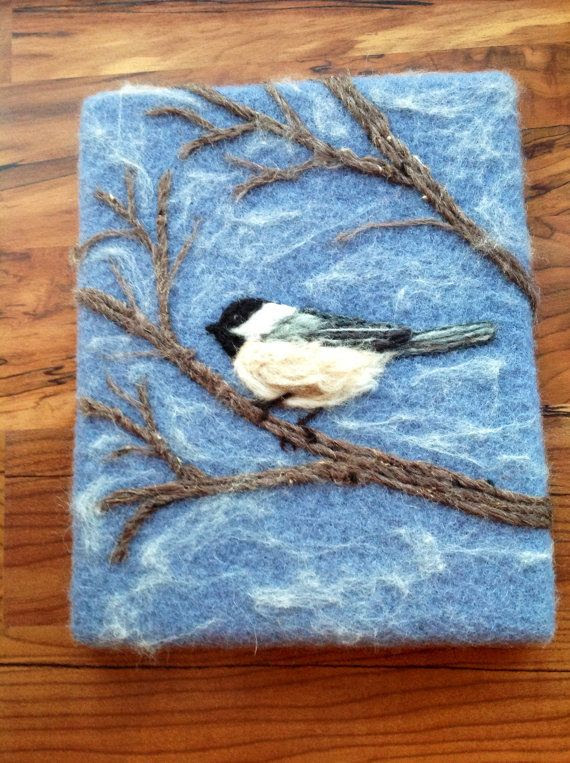 Needle felt chickadee painting...looks like it's mounted on a canvas