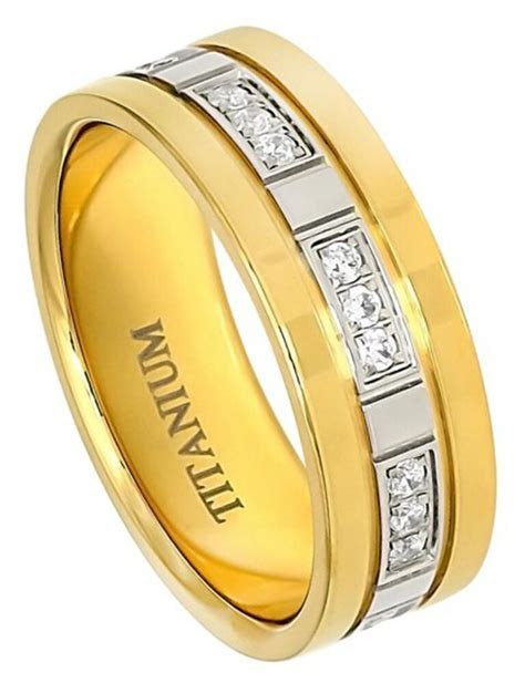 7mm Titanium Ring Men Women Wedding Band Yellow Gold