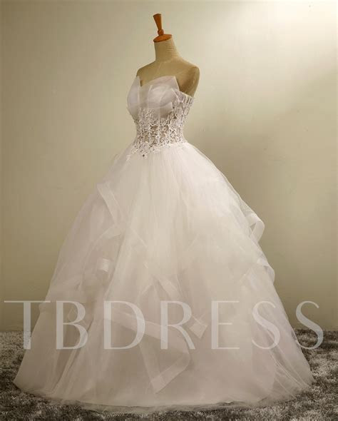 Strapless Tulle Appliques Lace Sheer Fishbones Ball Gown