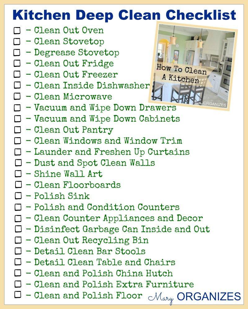 Weekly Kitchen Cleaning Checklist - zitzat.com
