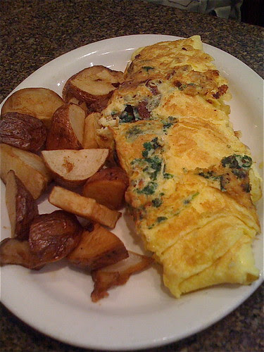 Spinach, Bacon and Feta Omelette