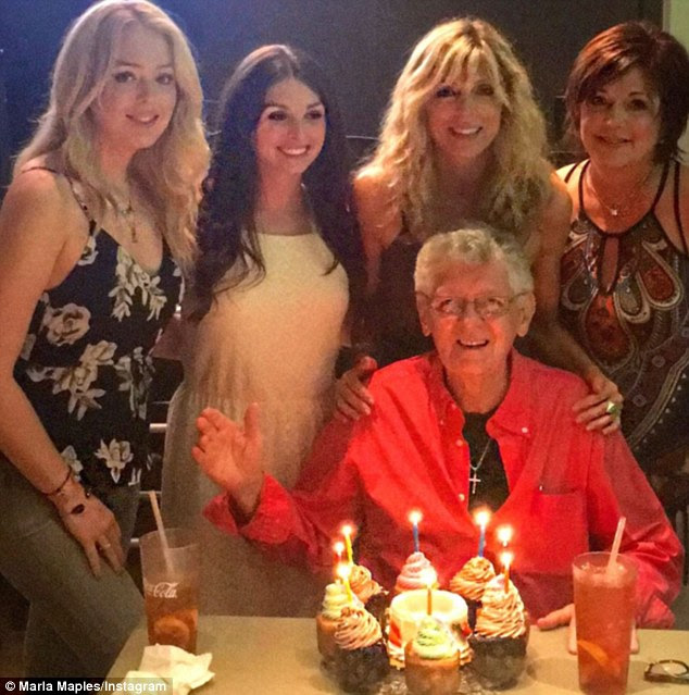 All smiles: Tiffany celebrated her grandfather Stanley's 75th birthday with her mom and her aunt Danielle during their weekend trip to Georgia earlier this month