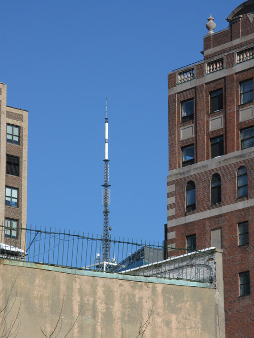 antenna seen between other buildings, Manhattan, NYC
