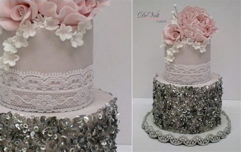 silver sequins vintage wedding cake with lace by DeVoli