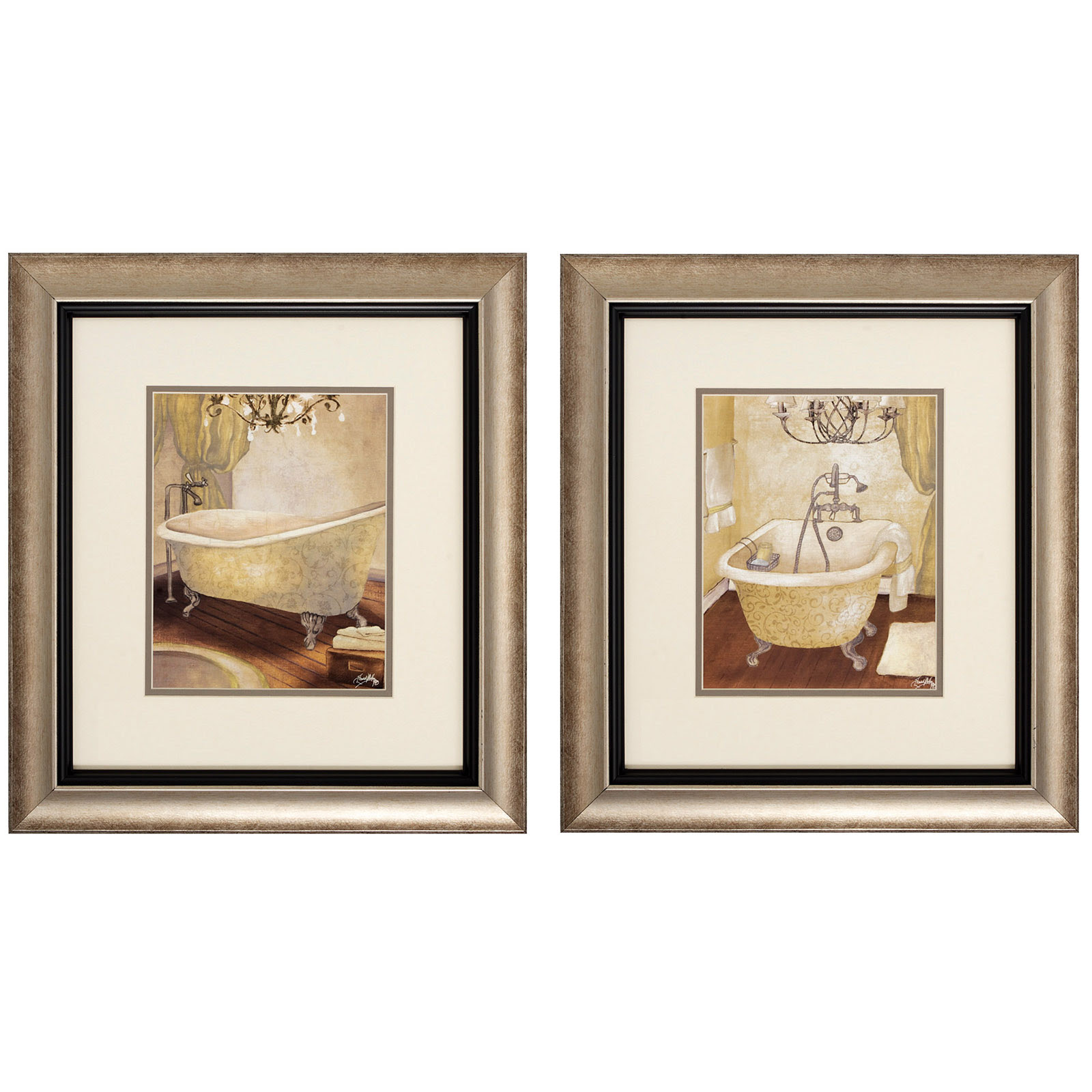 Elegant Bathroom Framed Wall Art - Set of 2 - 17W x 19H in. ea. - Wall Art at Hayneedle
