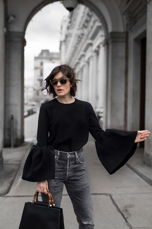 Statement Sleeve Top Sunglasses High Waisted Grey Distressed Jeans Gucci Bamboo Handle Bag Via Carola Pojer Vienna Wedekind Le Fashion Blog