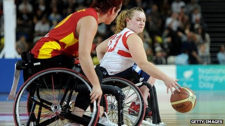 Wheelchair basketball player Louise Sugden playing against Spain in September