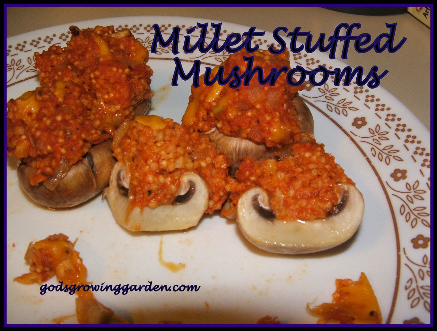 Millet Stuffed Mushrooms, by Angie Ouellette-Tower for godsgrowinggarden.com