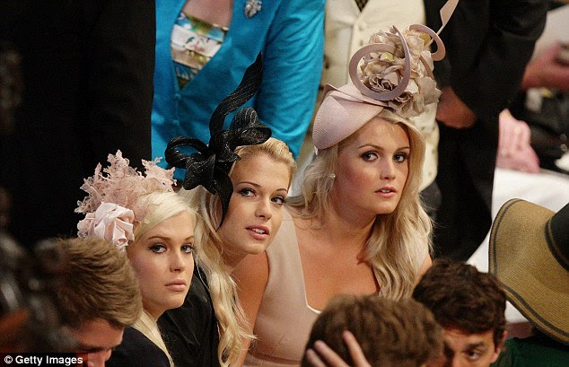 Royal wedding: Earl Spencer's daughter Kitty is pictured with sisters Amelia (left) and Eliza (centre) inside  Westminster Abbey ahead of the Royal Wedding of Prince William to Catherine Middleton at Westminster Abbey on April 29, 2011