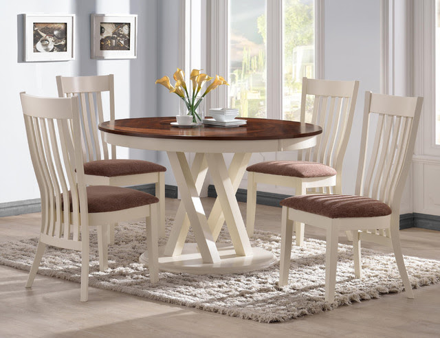 5 PC Country Pecan White Wood Dining Set 42\u0026quot; Round Table Chairs Fabric  Contemporary  Dining