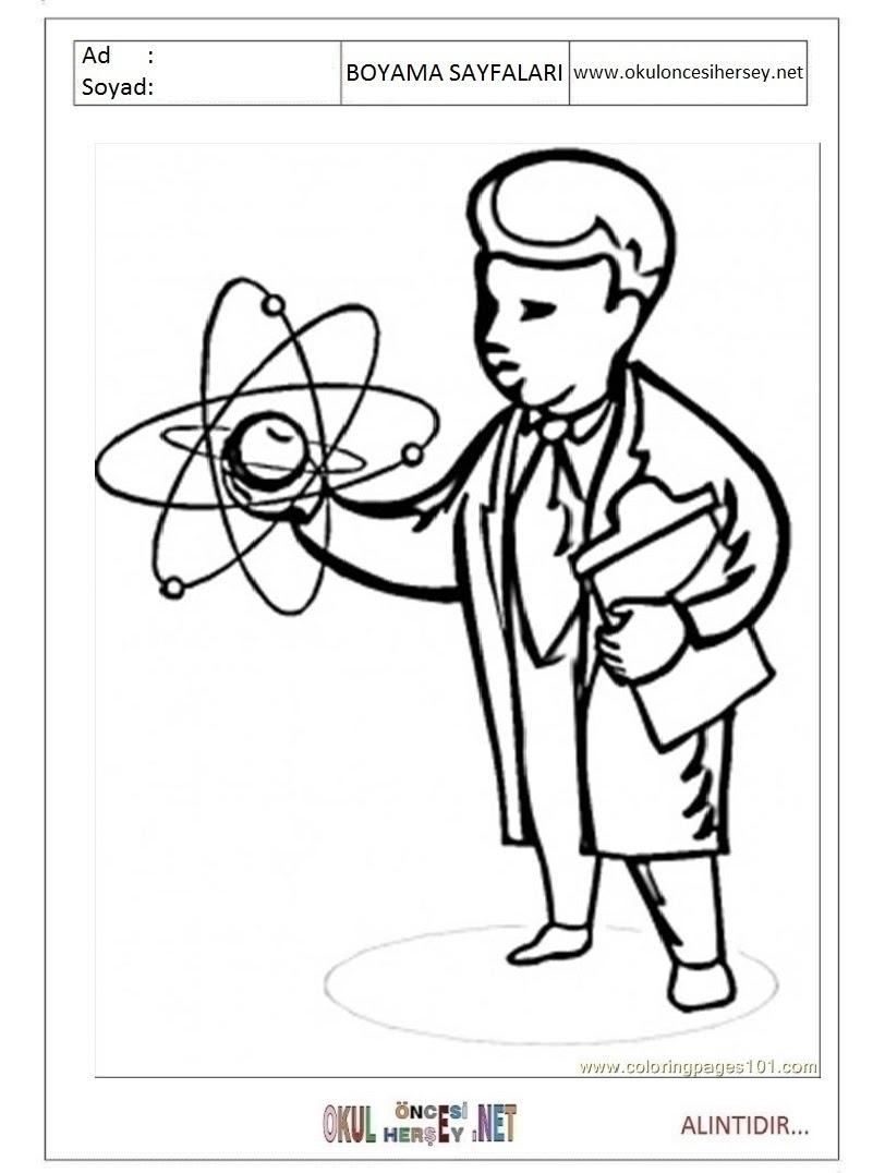 Bilim Adamı Boyama Sayfaları