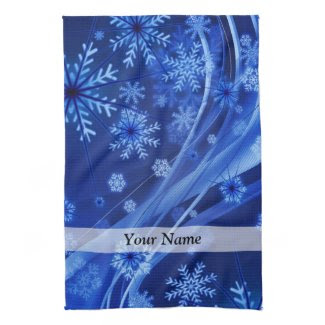 Blue digital snowflake pattern kitchen towels
