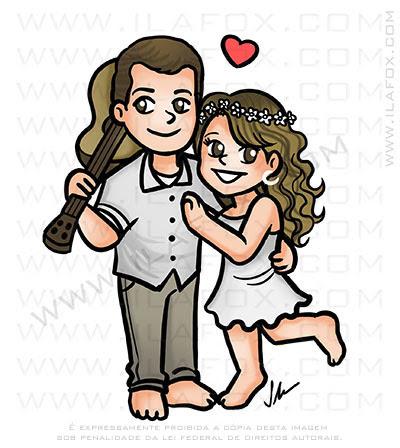 caricatura fofinha, caricatura delicada, caricatura casal caricatura meiga, by ila fox