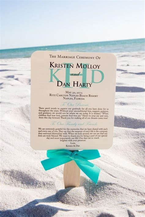 Wedding Program Fan, Turquoise Program Fans, Beach Wedding