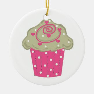 Hot Pink Cupcake Double-Sided Ceramic Round Christmas Ornament