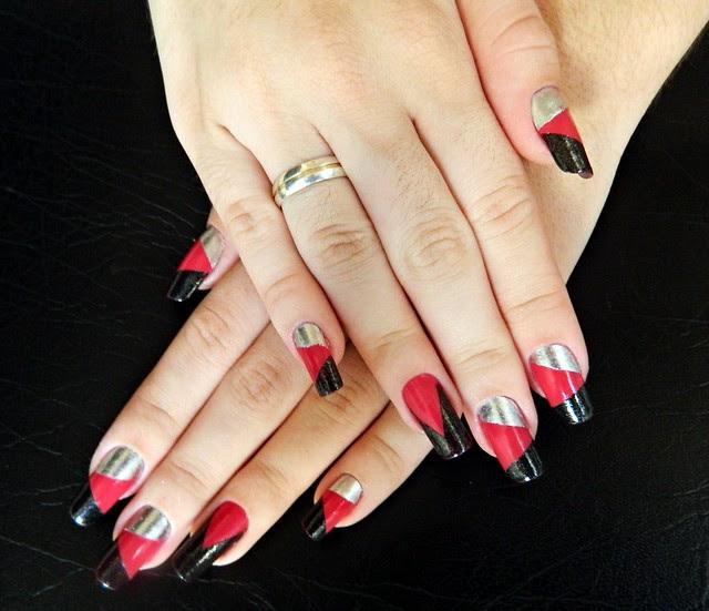 juliana leite unhas decoradas nail art formatos gerométricos unhas diferentes com adesivo
