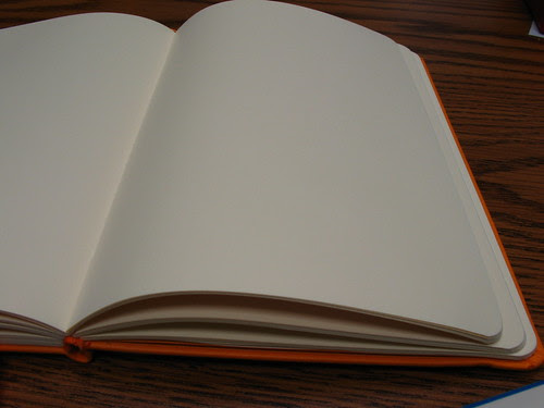 "Pages lie flat in a Rhodia web notebook (""webbie"")"