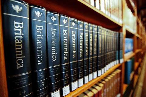 A set of the Encyclopaedia Britannica on the shelves of the New York Public Library.