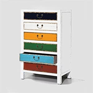 hochkommode harlekin weiss holz schrank 6 bunte schubladen kommode holzschrank kleiderschranke. Black Bedroom Furniture Sets. Home Design Ideas