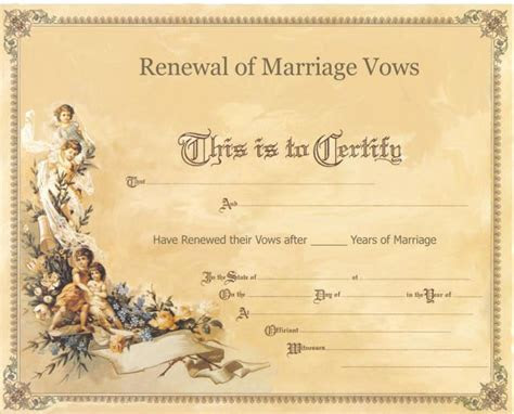 Renewal of Vows Ceremony Certificate   Anniversary