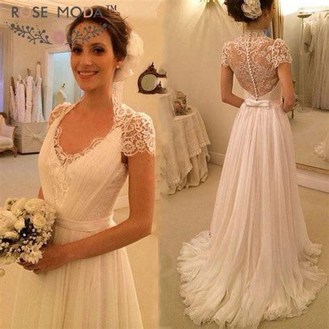 Short Lace Sleeves Deep V Neck Beach Wedding Dress