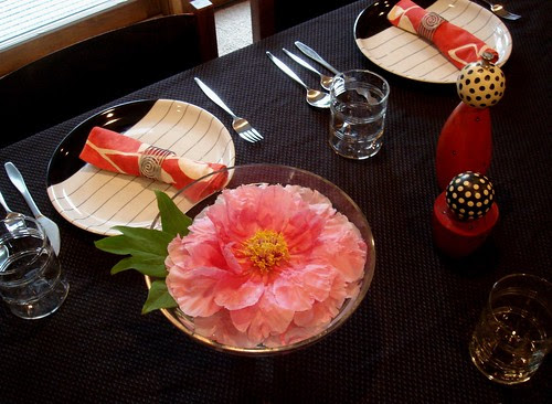 Table setting with a tree peony