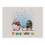 Pig and hedgehog with scarfs postcard