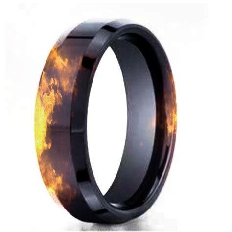Black gold fire effect wedding band.   Firefighter stuff